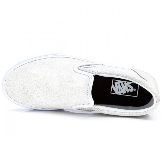 Vans Classic Slip-On Cracked Leather Shoes - True White - 6.0