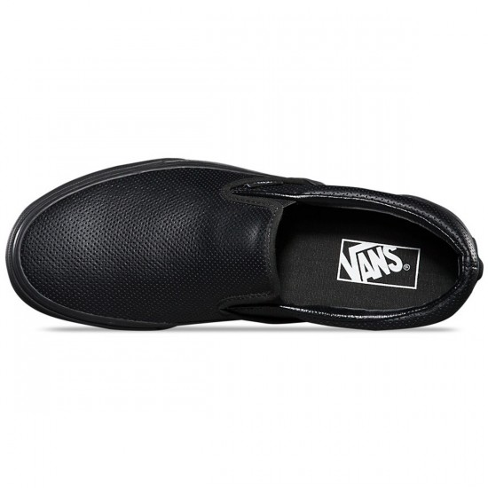 Vans Classic Slip-On Perforated Leather Shoes - Black/Black - 3.5