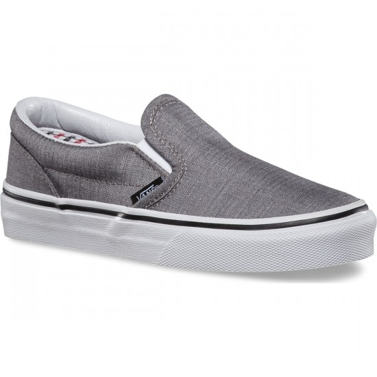 Vans Classic Slip-On Suiting Stripes Little Kid/Big Kid Shoes - Charcoal/True White
