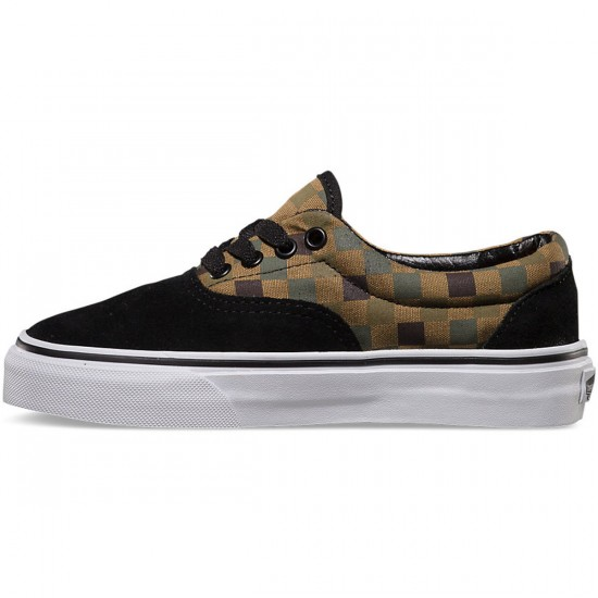 Vans Checkerboard Era Youth Shoes - Black/Military Olive - 4.0
