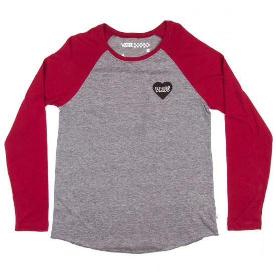 Vans Giant Mess Womens T-Shirt - Grey Heather/Rumba Red