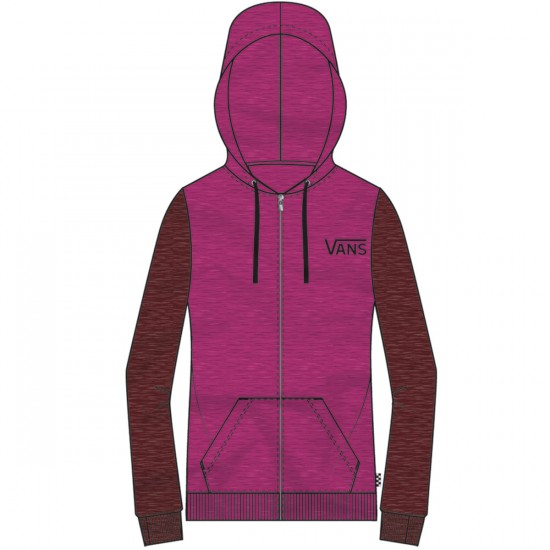 Vans Link Zip-Up Women's Hoodie - Heather Magenta Haze/Heather Rum Raisin