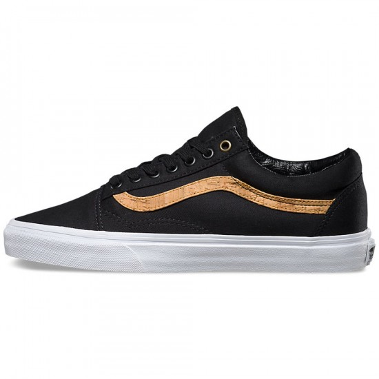 Vans Old Skool Cork Twill Shoes - Black - 6.0