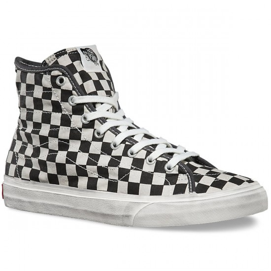 c5226e95f6 Vans SK8-HI Decon Overwashed Shoes - Black Check - 3.5