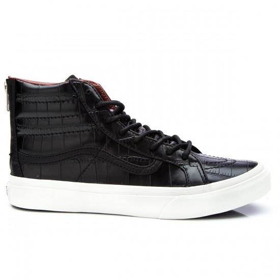 Vans SK8-Hi Slim Zip Croc Leather Shoes - Black - 4.5