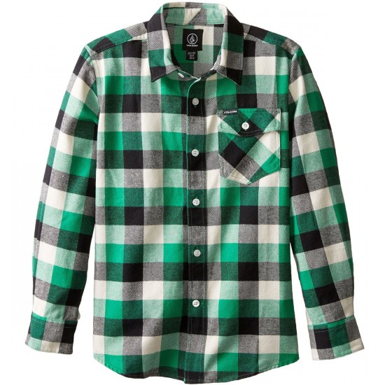 Volcom Big Youth Bert Flannel Youth Shirt - Green