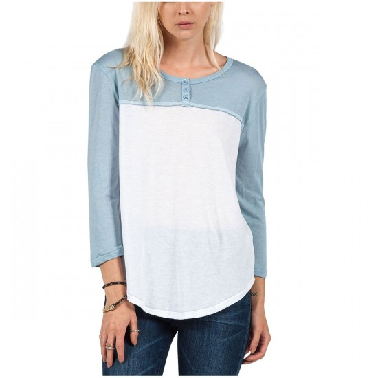 Volcom Block It Womens Henley T-Shirt - Washed Blue