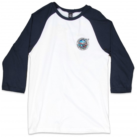 Volcom Bone Grab 3/4 Sleeve Raglan T-Shirt - White