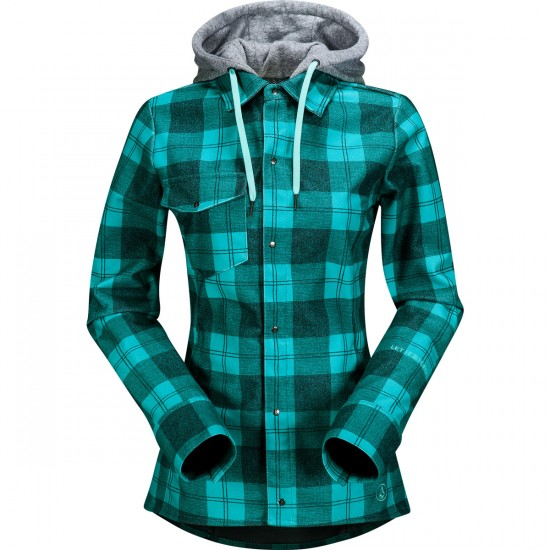 Volcom Circle Women's Flannel Tech Sweatshirt 2015 - Island Green