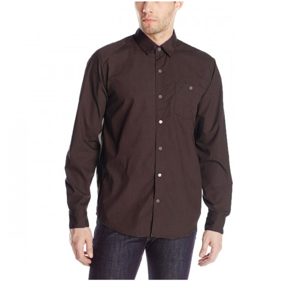 Volcom Everett Solid Long Sleeve Shirt - Bark Brown