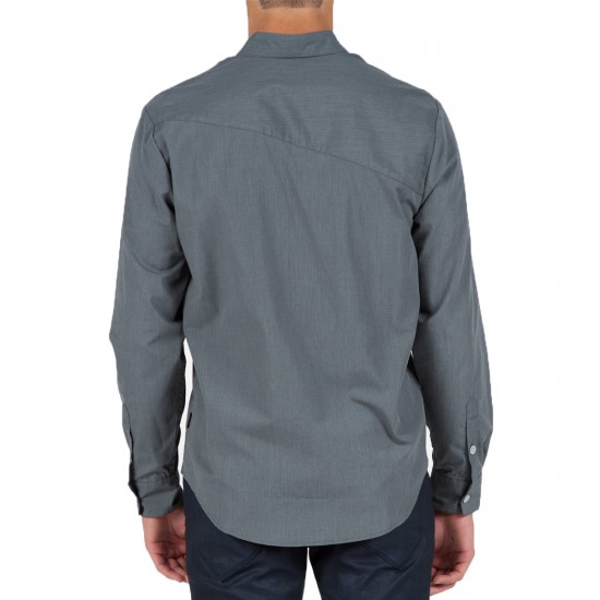 Volcom Everett Solid Long Sleeve Woven Shirt - Dark Grey