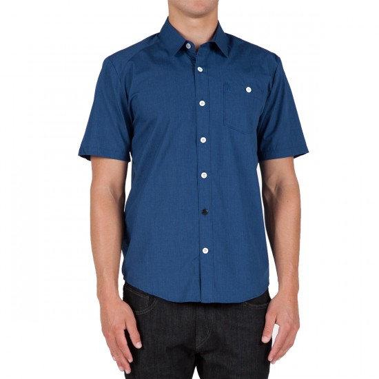 Volcom Everett Solid Short Sleeve Woven Shirt - Navy