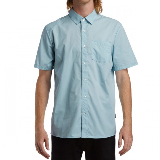 Volcom Everett Solid Short Sleeve Shirt - Vintage Blue