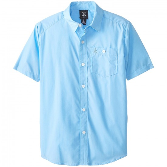 Volcom Everett Solid Short Sleeve Woven Shirt - False Blue