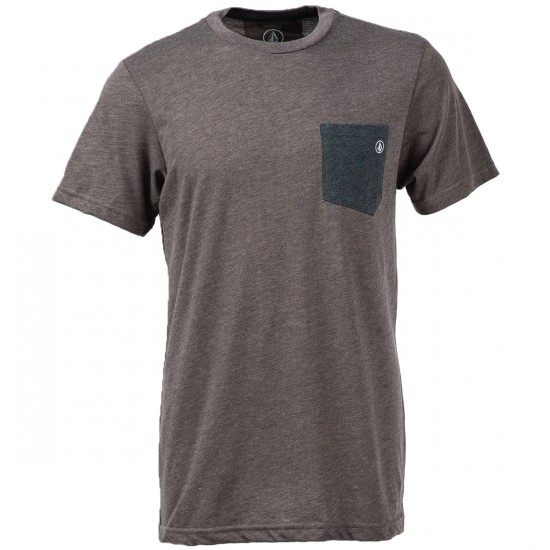 Volcom Fall Switch Pocket T-Shirt - Bark Brown Heather