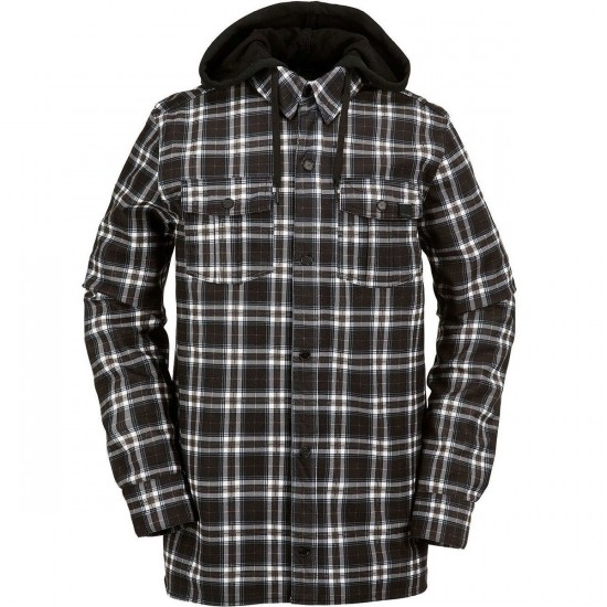 Volcom Field Bonded Flannel Snowboard Jacket - Black and White Plaid