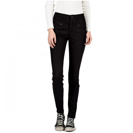 Volcom High & Waisted Womens Skinny Jeans - Sulfur Black