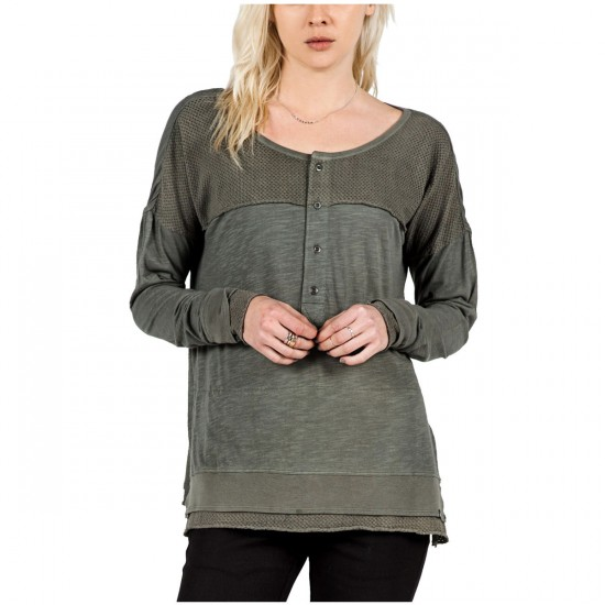 Volcom It's Chemistry Womens Henley Shirt - Charcoal