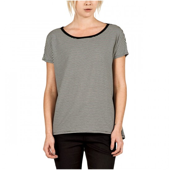 Volcom Lived In Striped Womens T-Shirt - Black