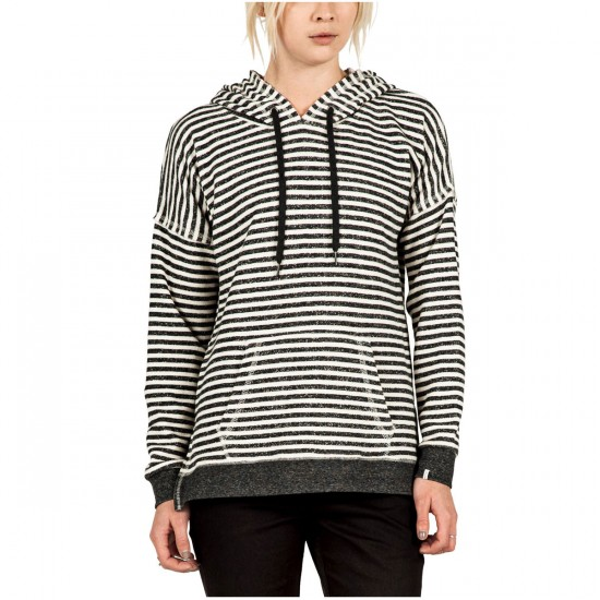 Volcom Lived In Womens Striped Pullover Hoodie - Black