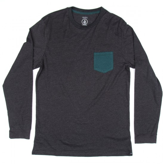 Volcom New Twist Long Sleeve Pocket T-Shirt - Heather Black