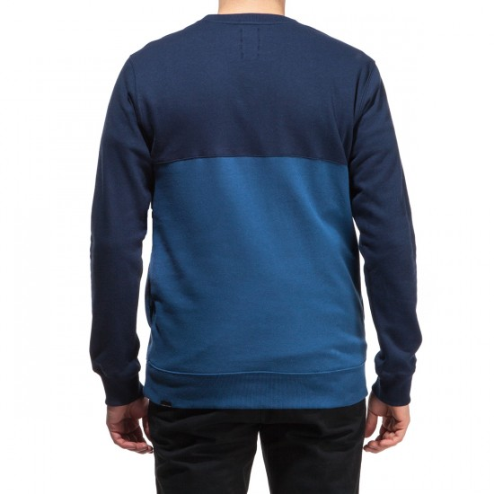 Volcom Single Stone Color Blocked Crew Sweatshirt - Smokey Blue