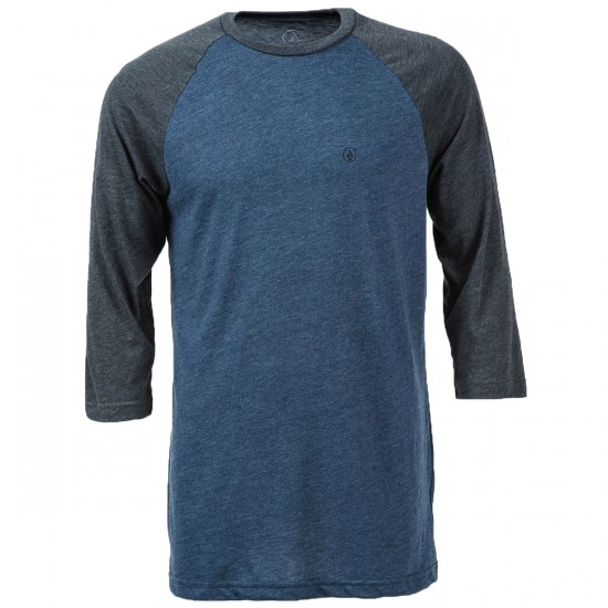 Volcom Solid Heather 3/4 Sleeve Raglan T-Shirt - Navy