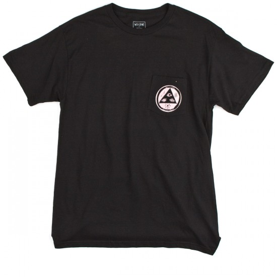 Welcome Crinker Pocket T-Shirt - Black/Pink