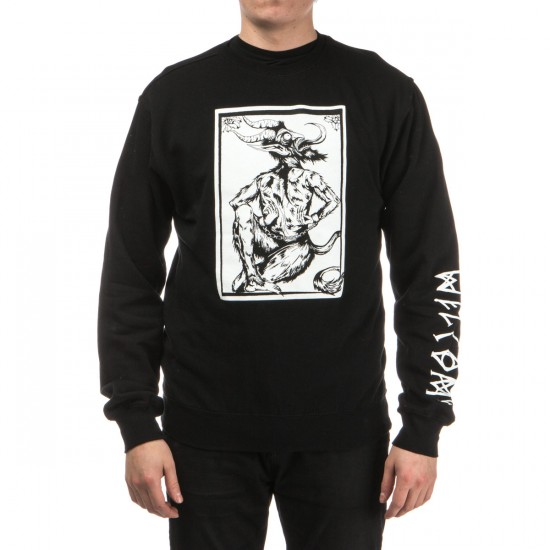 Welcome Krampus Lightweight Crew Fleece Sweatshirt - Black