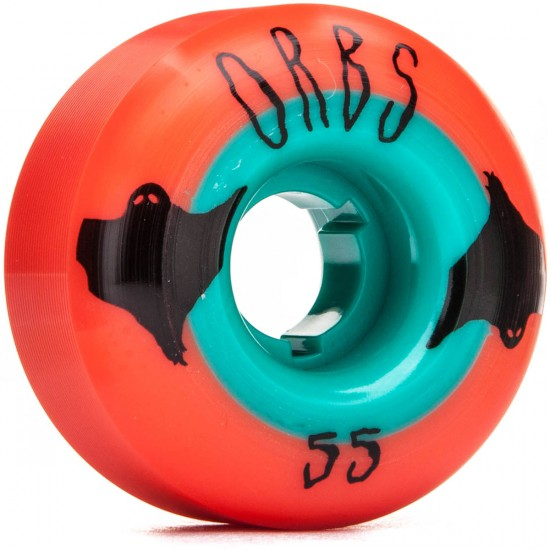 Welcome Orbs Poltergeists Skateboard Wheels - 55mm 104A - Neon Coral With Blue Core