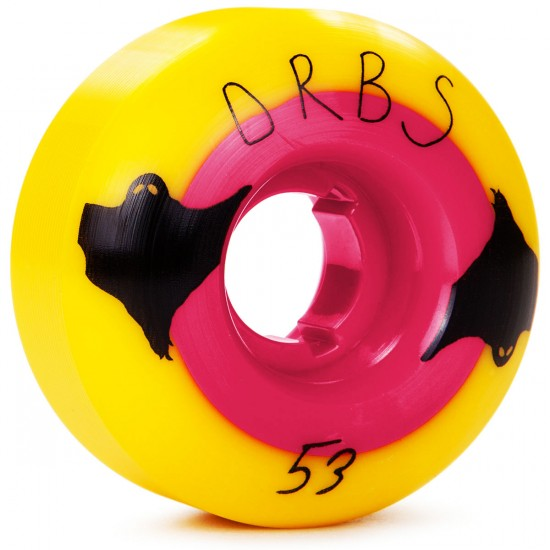 Welcome Orbs Poltergeists Skateboard Wheels - Yellow With Pink Core - 53mm