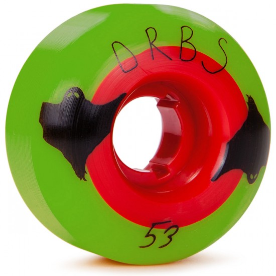 Welcome Poltergeist Skateboard Wheels - Green With Red Core - 53mm