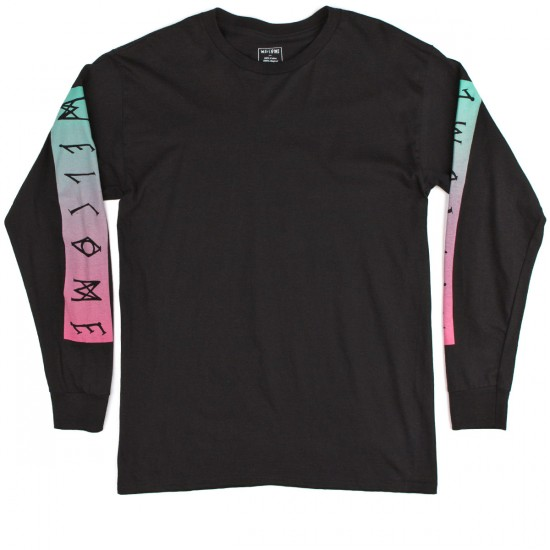 Welcome Scrawl Bar Long Sleeve T-Shirt - Black/Pink/Teal