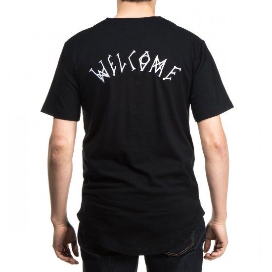Welcome Scrawl Knit Baseball Jersey - Black/White