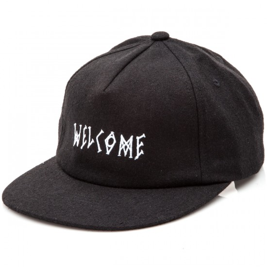 Welcome Scrawl Wool Strapback Hat - Black/White