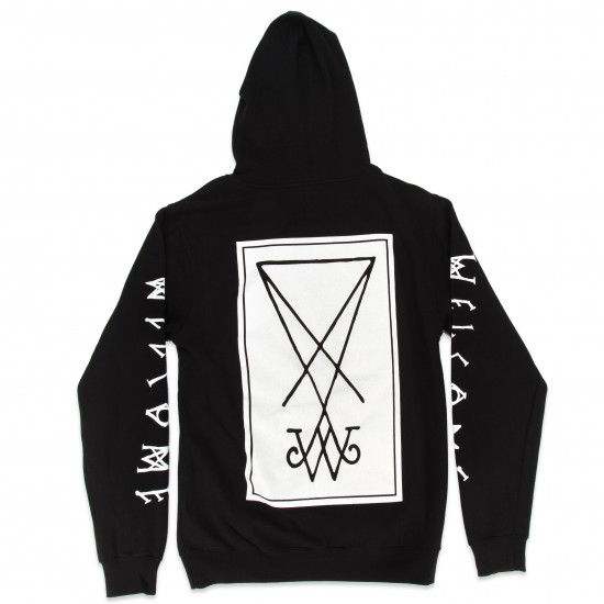 Welcome Symbol Lightweight Pullover Hoodie - Black/White