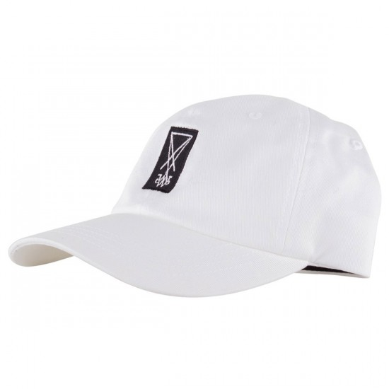 Welcome Symbol Unstructured Slider Hat - White/Black