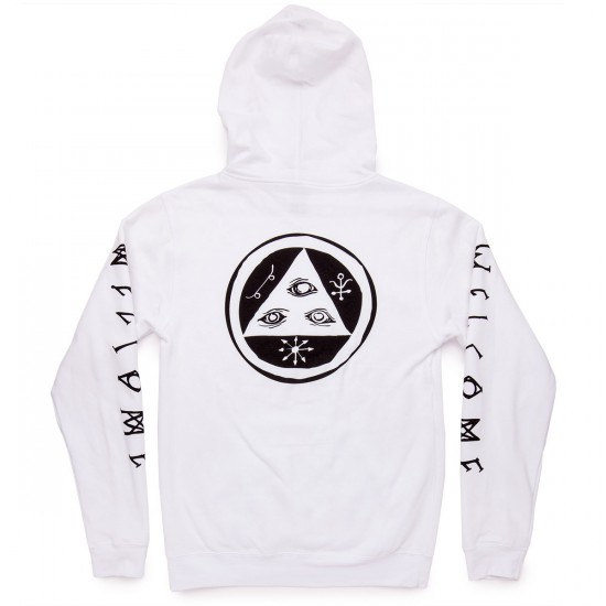 Welcome Tali-Scrawl Lightweight Pullover Hoodie Sweatshirt - White/Black