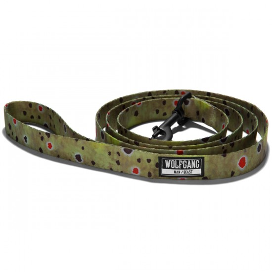Wolfgang Brown Trout Dog Leash - Green/Dot - 1in x 6ft