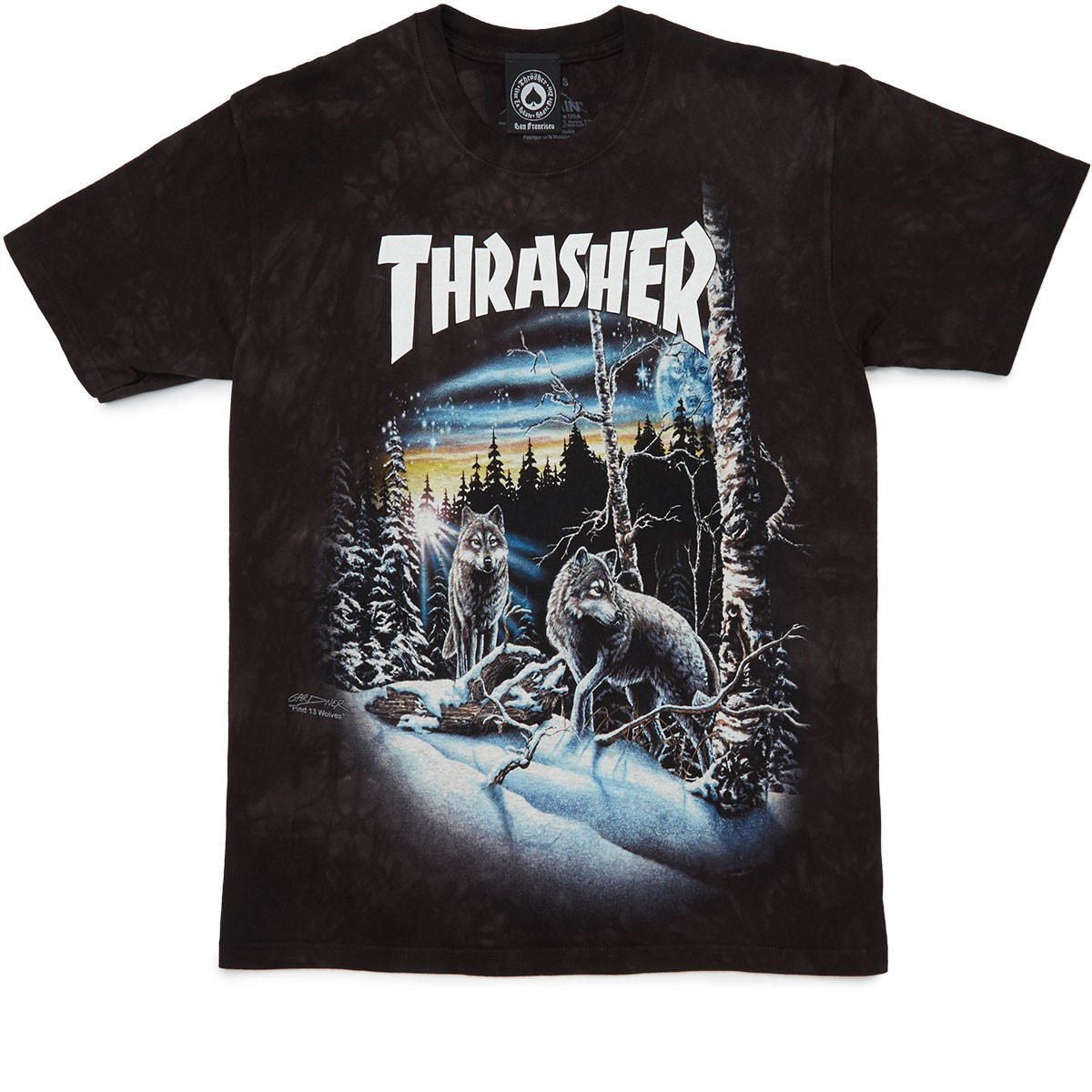 thrasher 13 wolves t shirt black tie dye. Black Bedroom Furniture Sets. Home Design Ideas