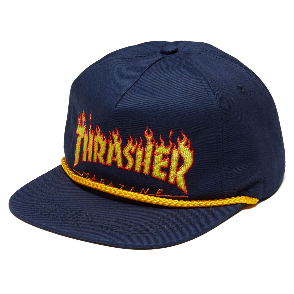 Thrasher Flame Rope Snapback Hat - Navy d045afc63