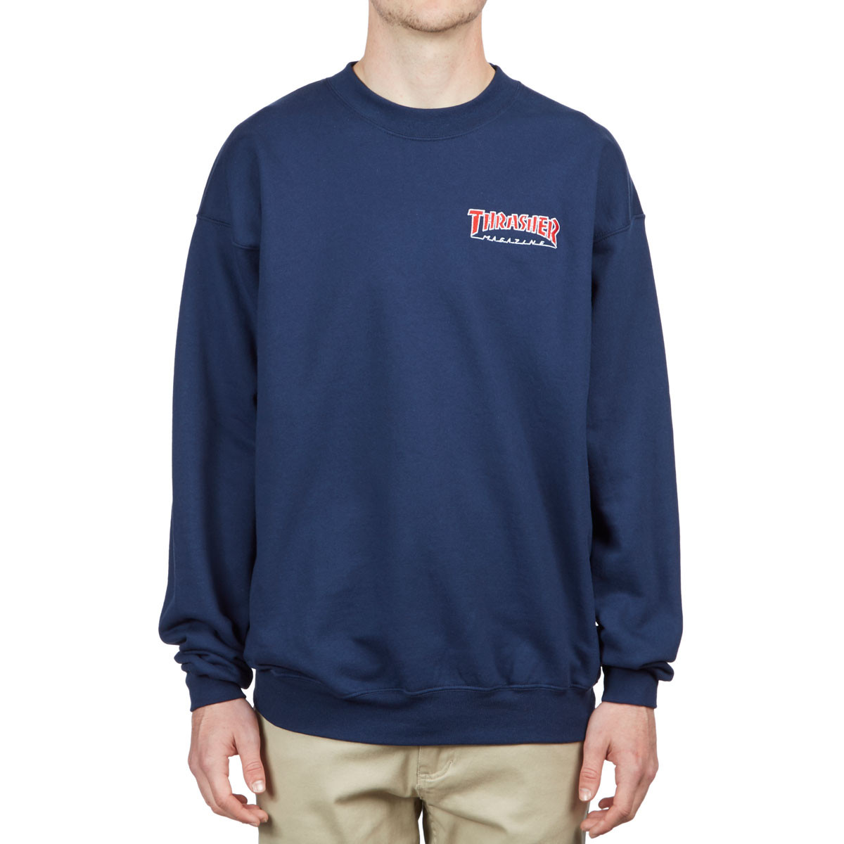 641973294415 Thrasher Embroidered Outlined Crew Sweatshirt - Navy