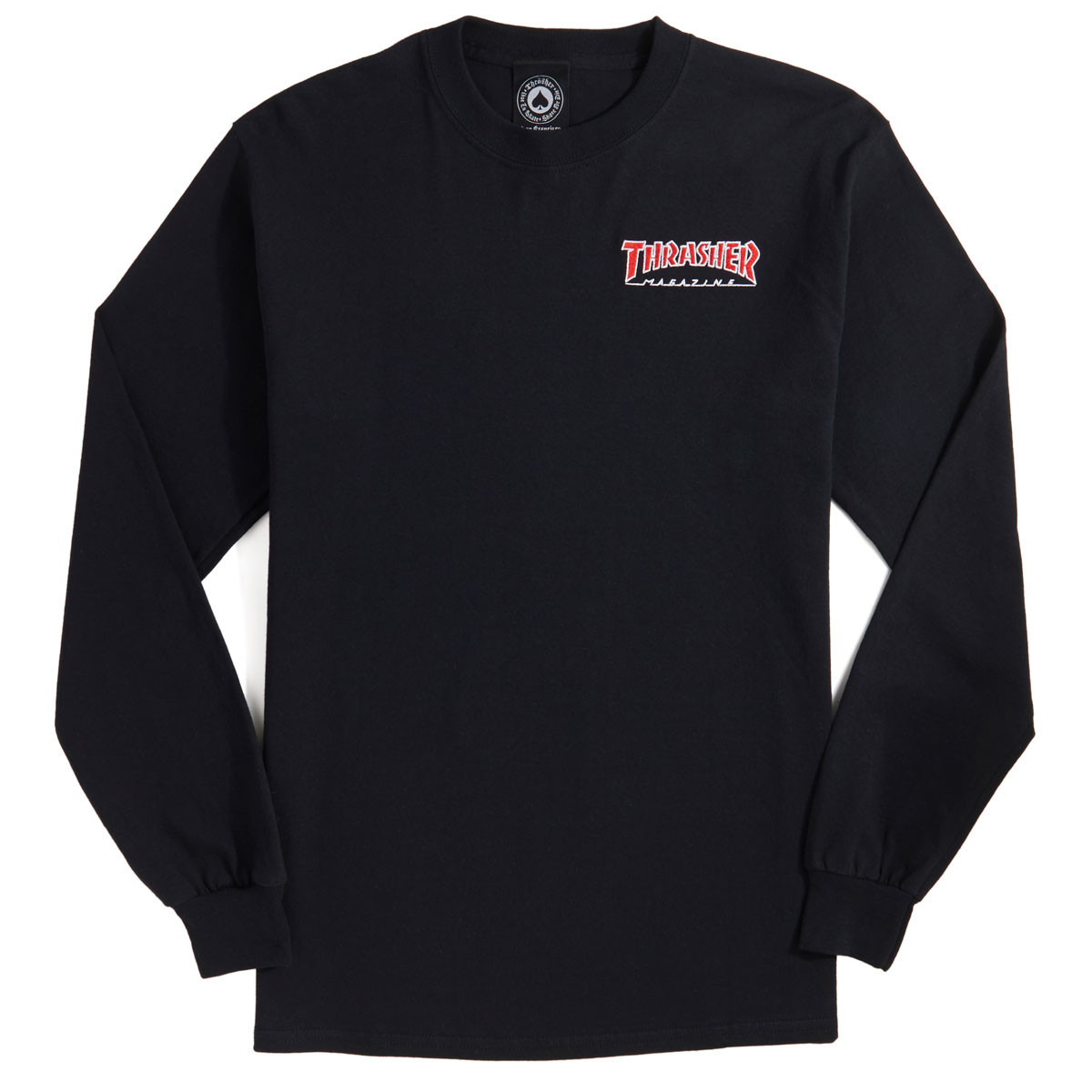 2609888aa3bd Thrasher Embroidered Outlined Long Sleeve T-Shirt - Black