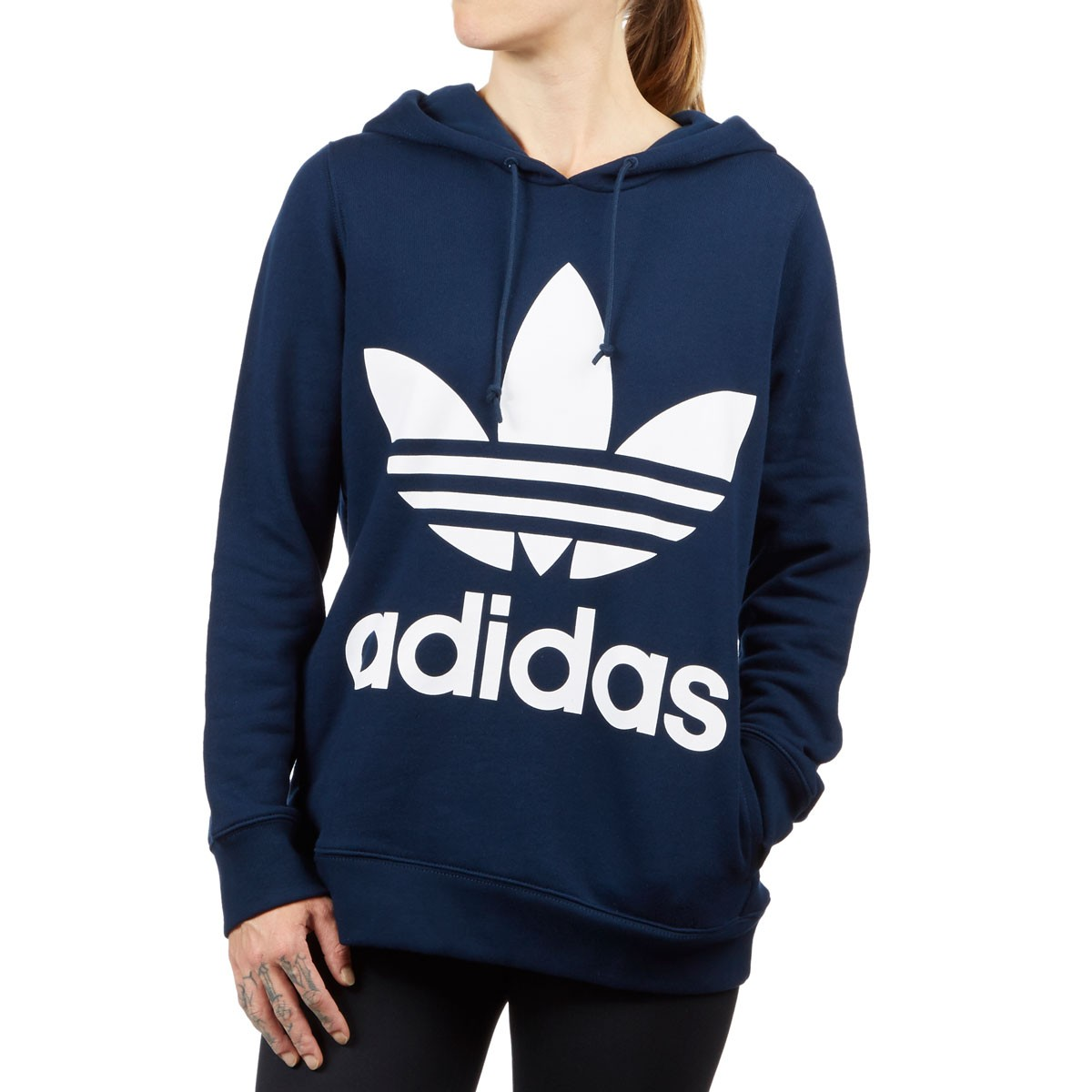 outlet boutique great quality special section Adidas Womens Trefoil Hoodie - Collegiate Navy