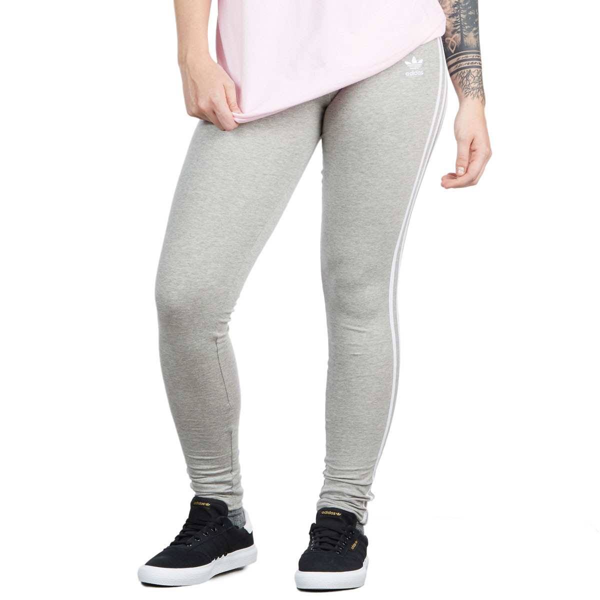 f6fe28c7ed55e Adidas Womens 3 Stripes Legging - Medium Grey Heather - LG