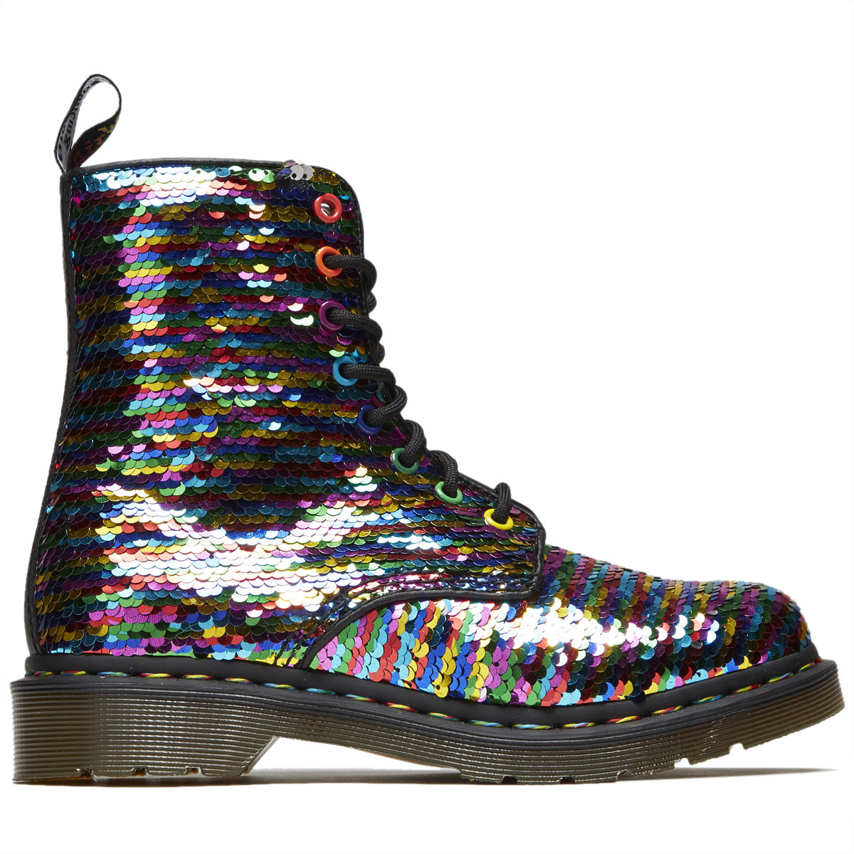 ddc849347750 Dr. Martens Womens 1460 8 Eye Pascal Sequin Boots - Rainbow