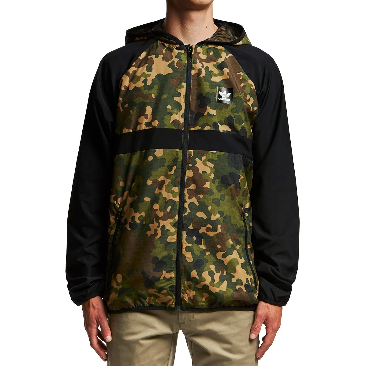 adidas camo windbreaker jacket camo print black. Black Bedroom Furniture Sets. Home Design Ideas