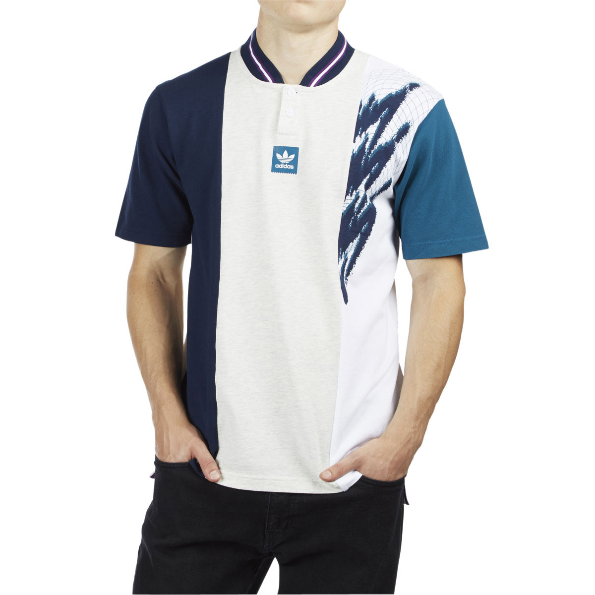 meet fe1a4 21711 Adidas Tennis Jersey - Pale Melange/Collegiate Navy/Real Teal