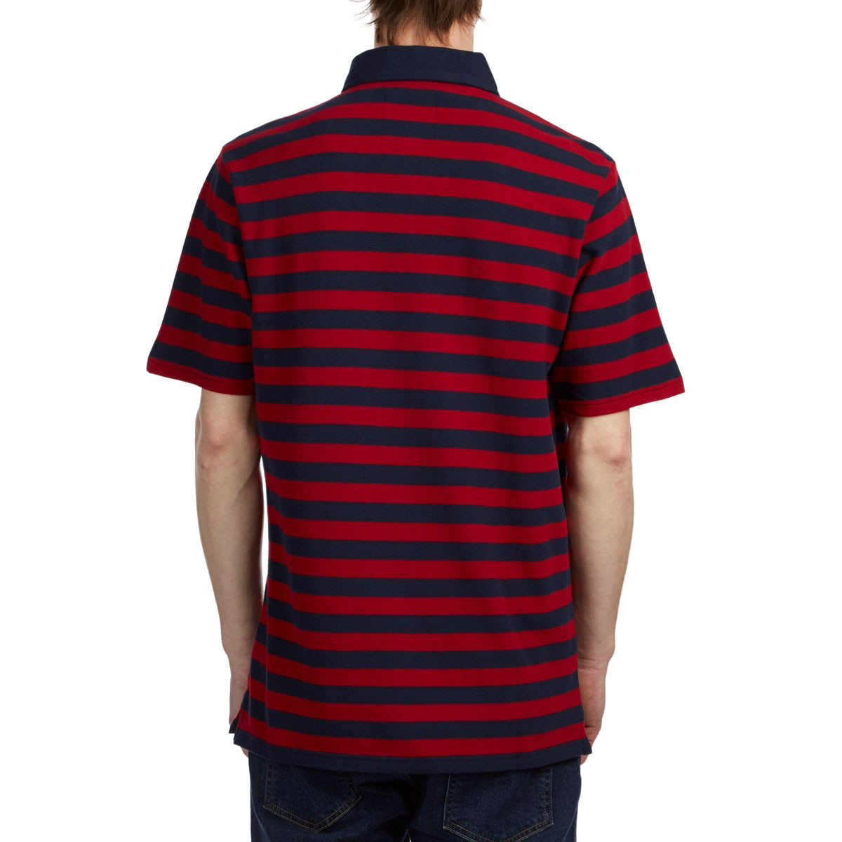 ed4448f455 Vans Chima Striped Polo Shirt - Chili Pepper Dress Blues