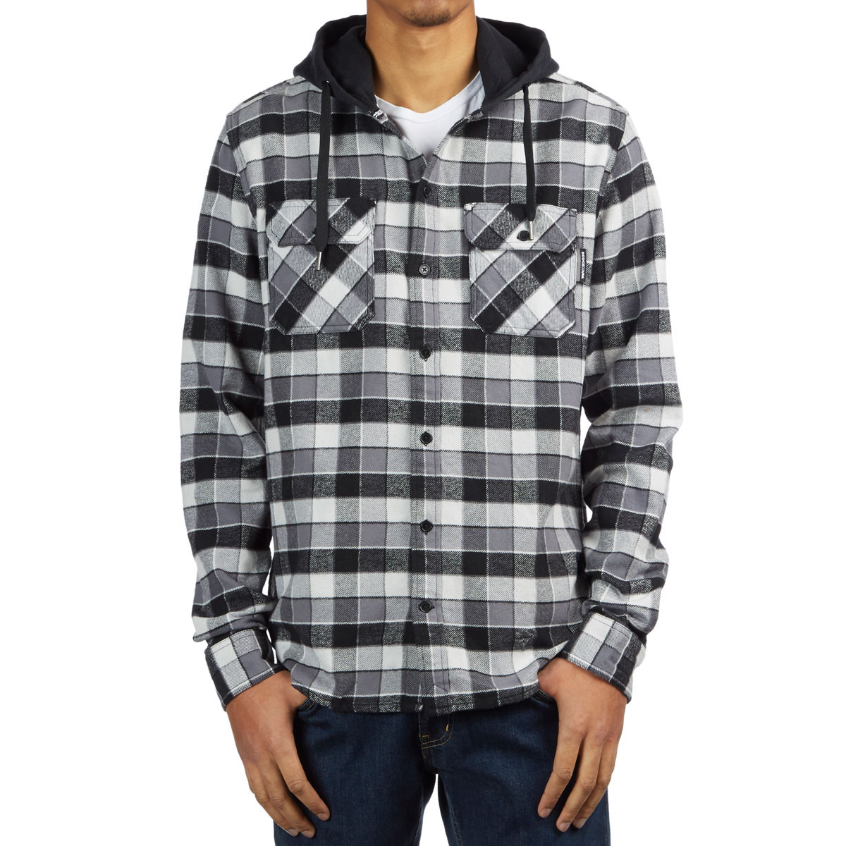 Mens Shirts Black DC Shoes Runnels Hooded Shirt